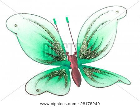 Beautiful butterfly decoration toy isolated on white background