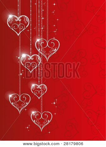 Vector illustration of hanging shiny heart shapes with floral element and stars on red seamless heart shape background for Valentine Day.
