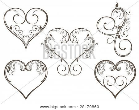 Vector illustration of vintage design heart shape decorated with floral style in grey color on isolated background for Valentine Day.