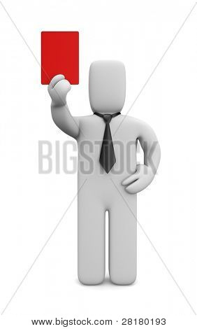 Businessman showing a red card