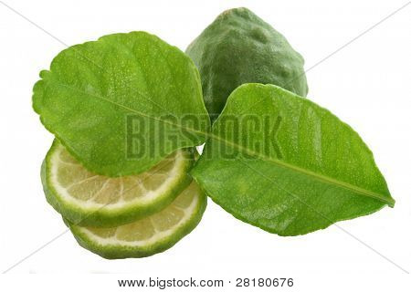 Garden picked Kaffir lime for Asian dish, isolated on white