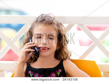 children kid girl talking mobile phone indented smiling