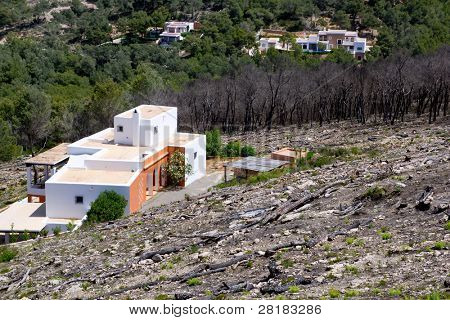 Ibiza after fire in spring 2011 almost burned houses in Spain