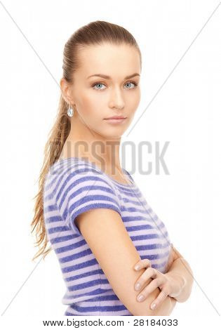 bright picture of lovely woman in striped sweater