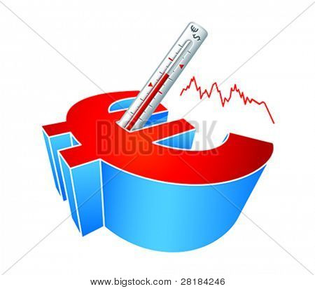 Euro cash symbol with clinical thermometer concept