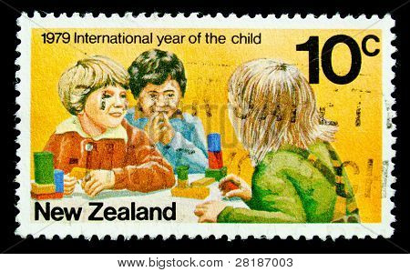 NEW ZEALAND - CIRCA 1979: A stamp printed in New Zealand shows children playingl, circa 1979
