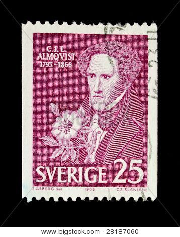 SWEDEN - CIRCA 1966: A stamp printed in Sweden shows Carl Jonas Love Almqvist - a romantic poet, early feminist, realist, composer, social critic and traveller., circa 1966