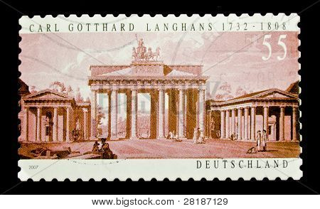 GERMANY - CIRCA 2007: A stamp printed in Germany shows Brandenburg Gate on paint by Carl Gotthard Langhans, circa 2007