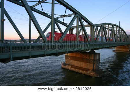 Train Crossing Bridge Over River