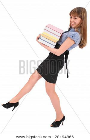 Girl Holds The Big Pile Of Books