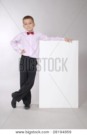 The Boy Holds White Board