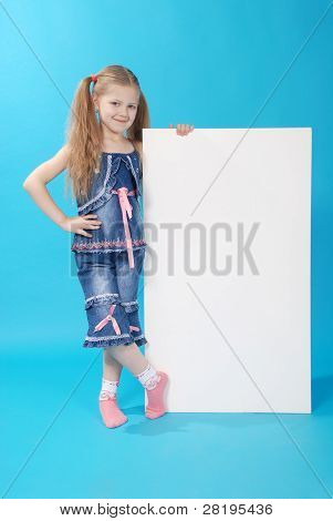 The Girl Holds White Board
