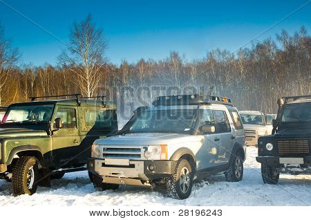 Four SUV on a Russian winter