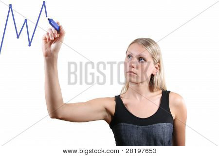 Woman Drawing A Graph