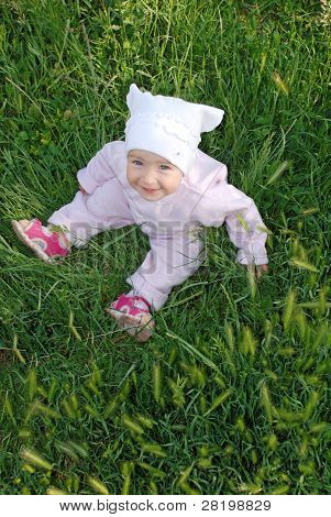 Sweet Baby Girl On Grass
