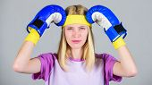 Girl Painful Face Embrace Head With Boxing Gloves. Headache Concept. Keep Calm And Get Rid Of Headac poster