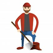 Concentrated Lumberjack Icon. Cartoon Of Concentrated Lumberjack Vector Icon For Web Design Isolated poster