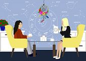 Young Girl In Consultation With An Astrologer. Two Girls Talk In The Astrologer Office. Astrology St poster
