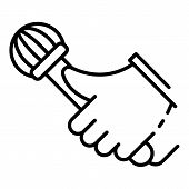 Rap Microphone Icon. Outline Rap Microphone Vector Icon For Web Design Isolated On White Background poster