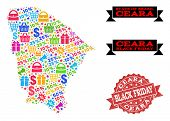 Black Friday Composition Of Mosaic Map Of Ceara State And Scratched Seal. Vector Red Watermark With  poster
