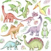 Set Of Cartoon Watercolor Dinosaurs. Cute Hand Drawn Funny Illustration Of Dinosaurs. Collection Per poster