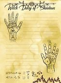 Witch Diary Page 12 Of 31 With Palm Hand Reading And Chiromancy Concept. Magic Wiccan Old Book With  poster