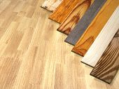 New parquet planks of different colors with different wood species on wooden floor. 3d render poster