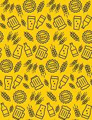 Beer Seamless Pattern. Vector Background. Beer Glasses, Beer Bottles, Wheat, Beer Cap. poster