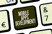 Conceptual Hand Writing Showing Mobile Apps Development. Business Photo Showcasing Process Of Develo poster