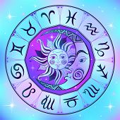 Zodiac. Astrological Symbol. Horoscope. The Sun And The Moon. Astrology. Mystical. Vector. poster