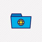 Vector Illustration Of Shared Folder Icon Colored Line. Beautiful Folder Element Also Can Be Used As poster