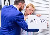 Sexual Harassment In Workplace. Me Too Social Movement. Metoo As A New Movement. Boss Or Manager Mol poster