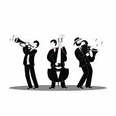 Jazz Band. Jazz Musicians In Classic Black Suits On A White Background. International Jazz Day And W poster