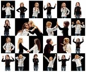 The Collage Of Different Human Facial Expressions, Emotions And Feelings Of Young Teen Or Child Girl poster