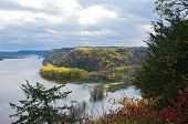 Above Mississippi River And Woodlands During Autumn From Effigy Mounds National Monument In Iowa poster