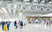 Abstract Blur And Defocused Airport Terminal Interior For Background poster
