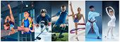 Attack. Sport Collage About Teen Or Child Athletes Or Players. The Soccer Football, Ice Hockey, Figu poster