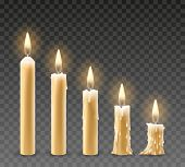 Burning Candles. Burn Isolated Candle Objects, Flicker Church Candles At Different Stages Of Burning poster