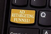Conceptual Hand Writing Showing Ad Retargeting Funnel. Business Photo Showcasing Aiming Relevant Ads poster