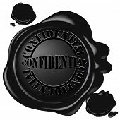 pic of wax seal  - realistic black wax seal with text - JPG