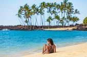Hawaii beach summer vacation travel in Big Island, Hawaii, USA. Hawaiian secluded beach destination  poster