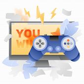 Video Game Controller Over Computer Monitor With You Win Words On It. Vector Video Game Concept. poster