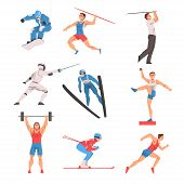 Male Athlete Character In Sports Uniform Set, Golf Player, Snowboarder, Javelin Thrower, Fencer, Sho poster