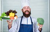 Man Happy Presenting Excellent Vegetables. Organic Culinary Recipe. Master Chef Use Only Eco Friendl poster