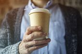 Office Worker Is Holding A Cup Of Coffee. Coffee Break Hand Paper Cup Cardigan Blue Shirt. Coffee Br poster