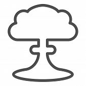 Nuclear Explosion Line Icon. Radioactive Explosion Vector Illustration Isolated On White. Apocalypse poster