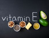 Natural Products Rich In Vitamin E And And Vitamin E. Helthcare Concept poster