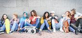 Group Of Multiracial Friends Having Fun Outdoor - Millennial Young People Using Mobile Phones Taking poster