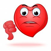 Emoticon Heart Shaped Face Showing Thumbs Down. Dislike Sign. Angry And Sad Emoji. Vector Illustrati poster