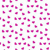 Pink Seamless Heart Pattern , Seamless Heart Background Vector , Seamless Heart Pattern For Gift Wra poster